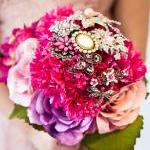 Pink Brooch Bouquet with vintage br..