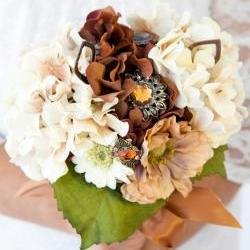 Brown, Cream and Copper Wedding Bouquet with Brooches and Jewelry finds =Reserved=